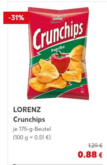 Lorenz Crunchips, versch. Sorten, je 175g Beutel für 88ct @ Kaufland ab 01.03.