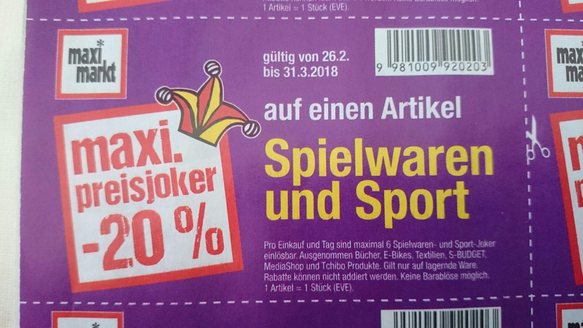 [Österreich] Maximarkt Preisjoker 20% Rabatt auf Spielwaren und Sport