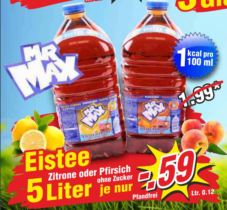Mr. Max Eistee Zero 5,0l für 0,59€ bei Wiglo