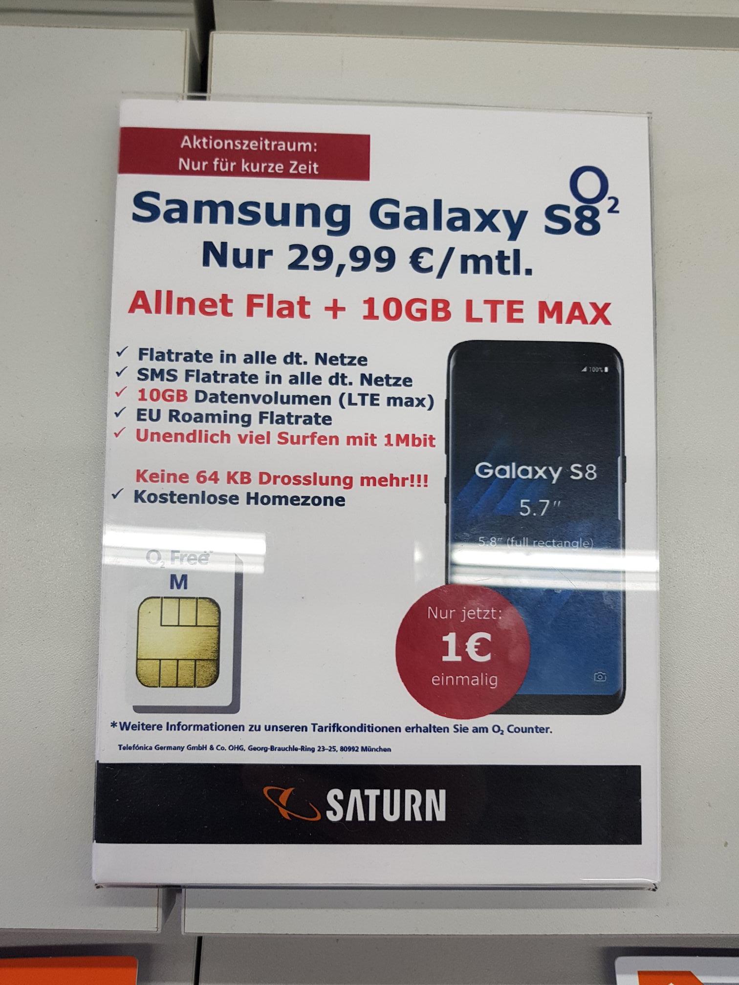 [lokal Saturn Kiel] O2 Free M mit dem Galaxy S8
