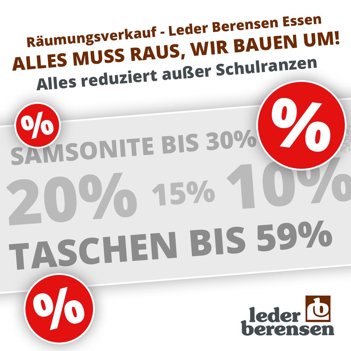[Leder Berensen Essen] Lager-Räumungsverkauf: Samsonite bis 30% | Taschen bis 59% usw.
