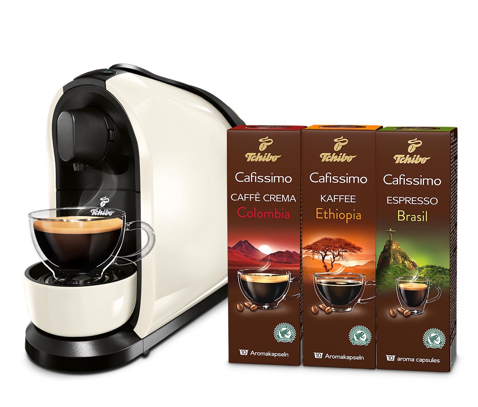 Tchibo Cafissimo Pure Kaffeemaschine in Weiß, Schwarz und Rot + 30 Kaffee-Kapseln