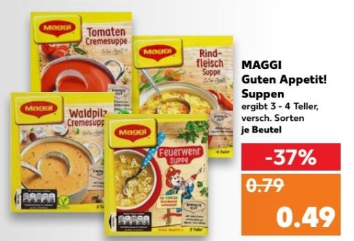 Maggi Guten Appetit Suppen 8x für 1,92 (1,52€) im Kaufland vom 01.03 bis 07.03 (Coupon) (Stückpreis 24 Cent (19 Cent))