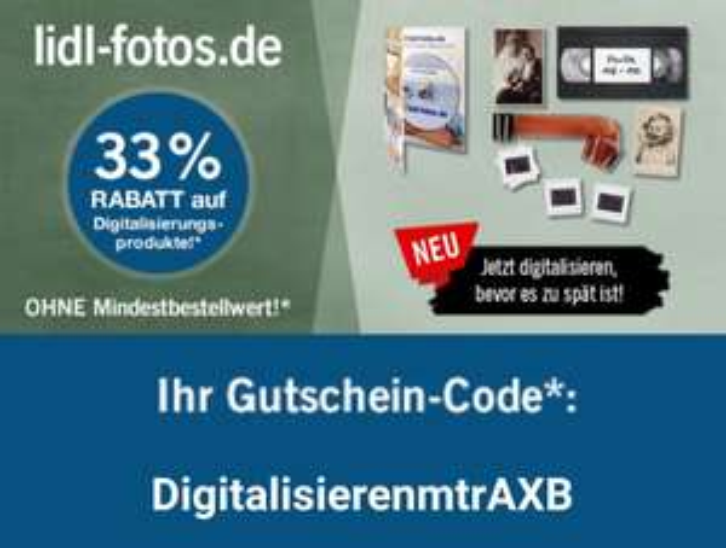 Lidl Fotos - 33% Rabatt auf Digitalisierungsprodukte (gültig bis Morgen, 28.Feb)