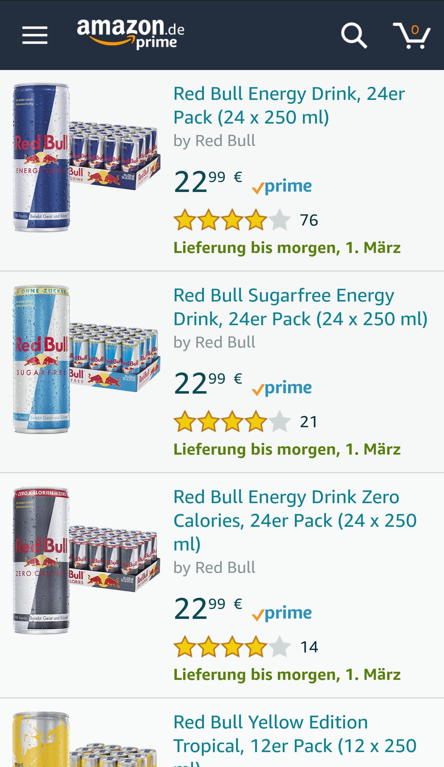 Red Bull Angebot des Tages auf Amazon verschiedene Sorten 12er und 24er Pack