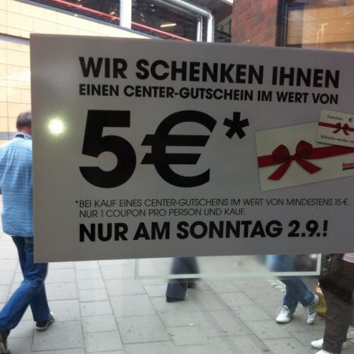 [Lokal Sterncenter Potsdam] Gutscheinkarte für 15€ kaufen, 5€ geschenkt (z.B. Media Markt)