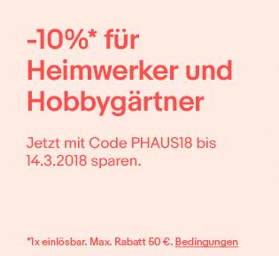 """[eBay] 10%-Gutschein für """"Heimwerker und Hobbygärtner"""" bei PayPal-Zahlung (max. 50€, 1x einlösbar)"""