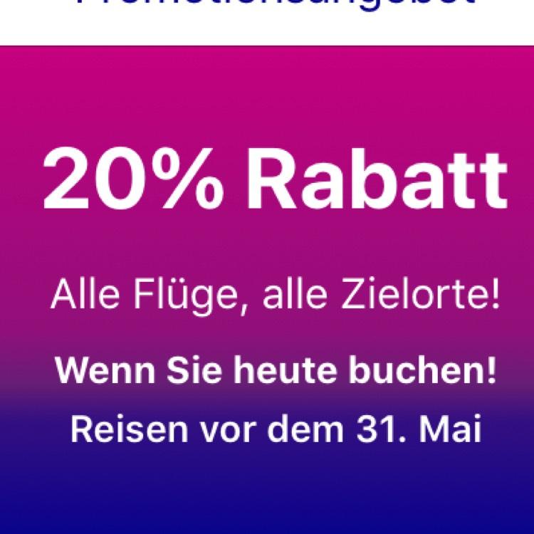 20% Rabatt auf alle Flüge bei WizzAir