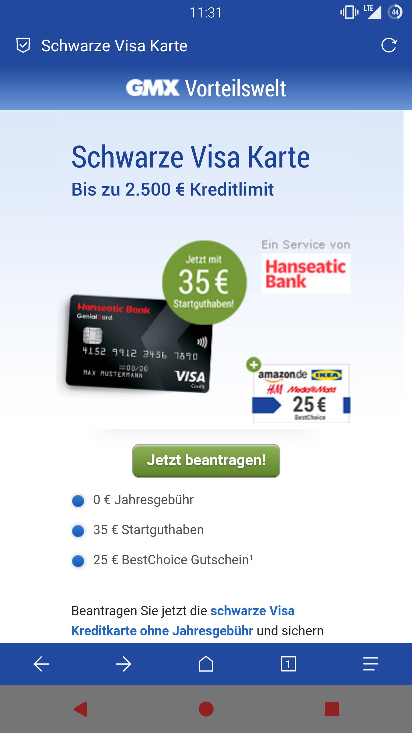 [GMX] Schwarze Visa Hanseatic Bank + 60€ Vorteil