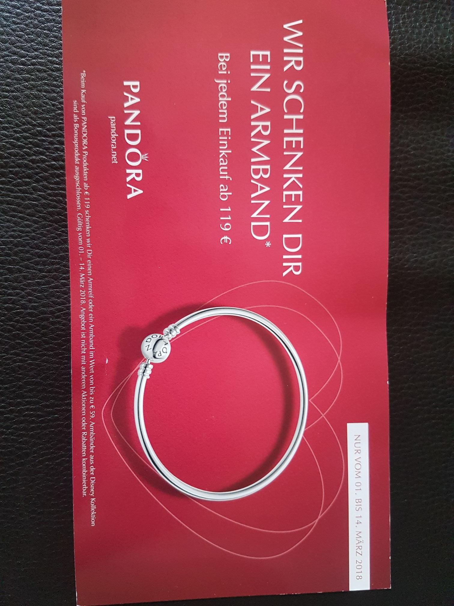 Pandora Armband bis 59€ geschenkt, ab einem Einkaufswert von 119€