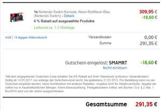 Nintendo Switch Rot/Blau bei Rakuten 291,35€ mit Code SMAMRT (nur 02.03.2018)