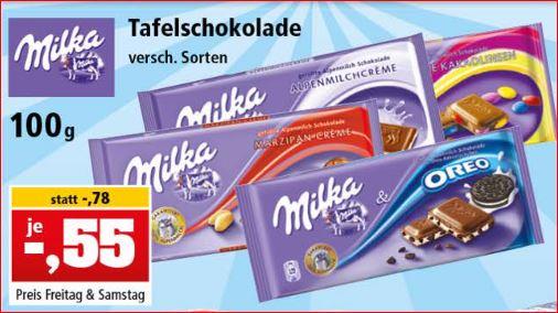 Milka Schokolade, verschiedene Sorten, 100g Tafel für 55 Cent [Thomas Philipps]