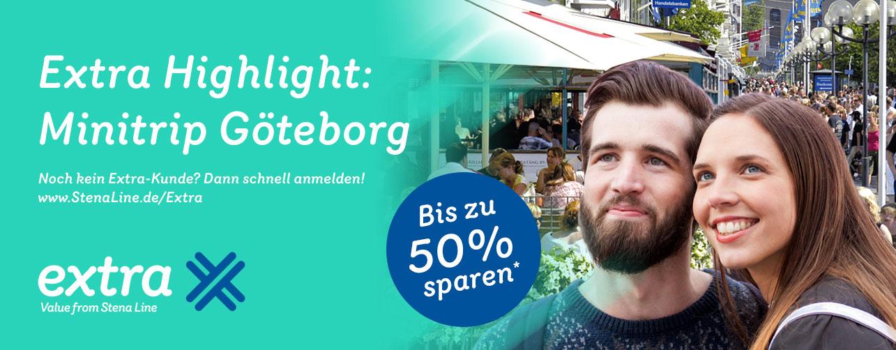 Minitrip Kiel - Göteborg - Kiel mit Stena Line, bis zu 50% Rabatt. Ab 46,50 € (1 Person) Ab 64 € (2 Personen)