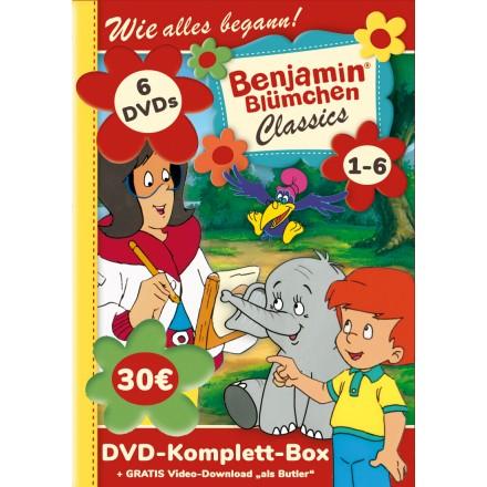 """[Kiddinx] Alle 6 Benjamin Blümchen Classic-DVDs plus das Video """"Benjamin als Butler"""" zum Download"""