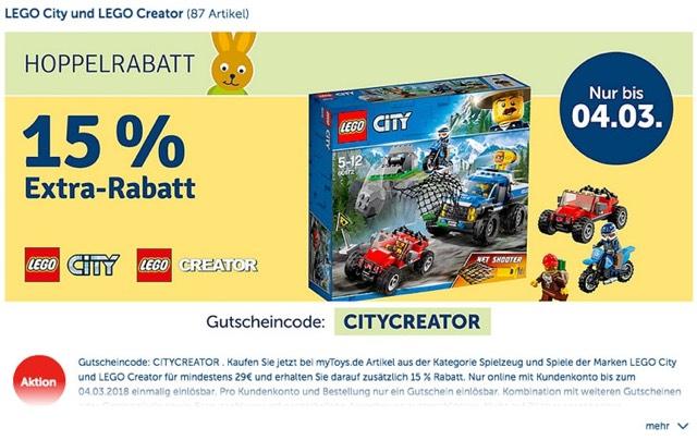 My Toys 15% Hoppelrabatt auf Lego Creator und City