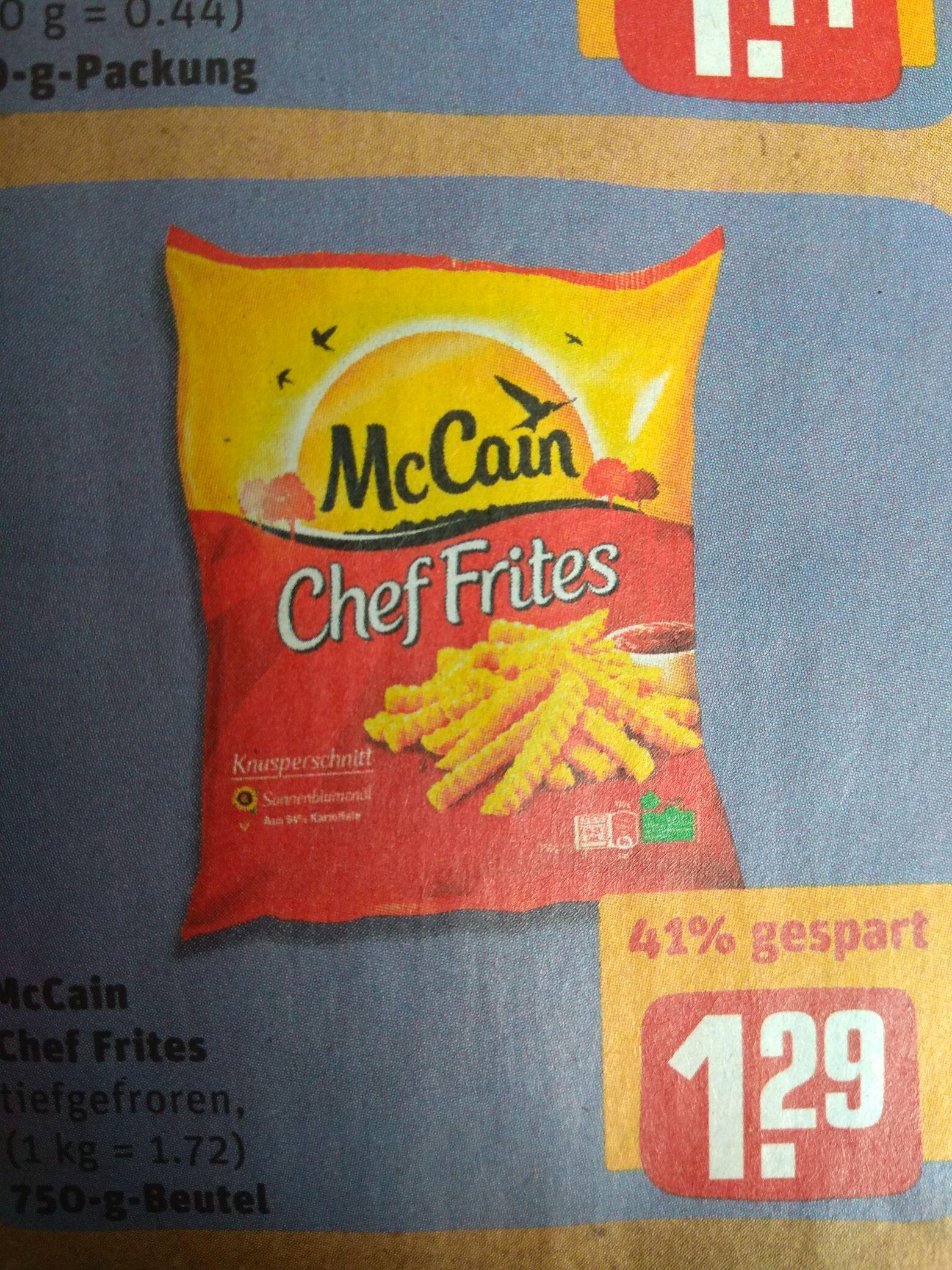 McCain Chef Frites @Rewe für 1,29€ - 41% Ersparnis.