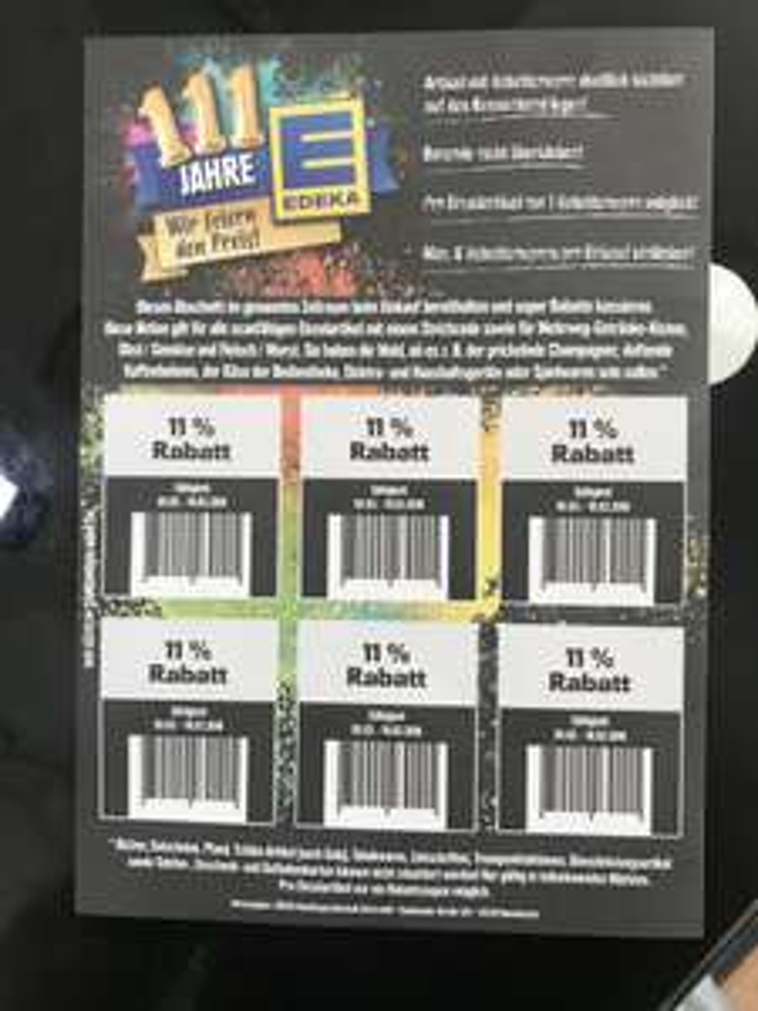 ( Edeka lokal ) 11% Rabatt Aufkleber 6x in der Wochenbeilage ab 05.03.18 gültig