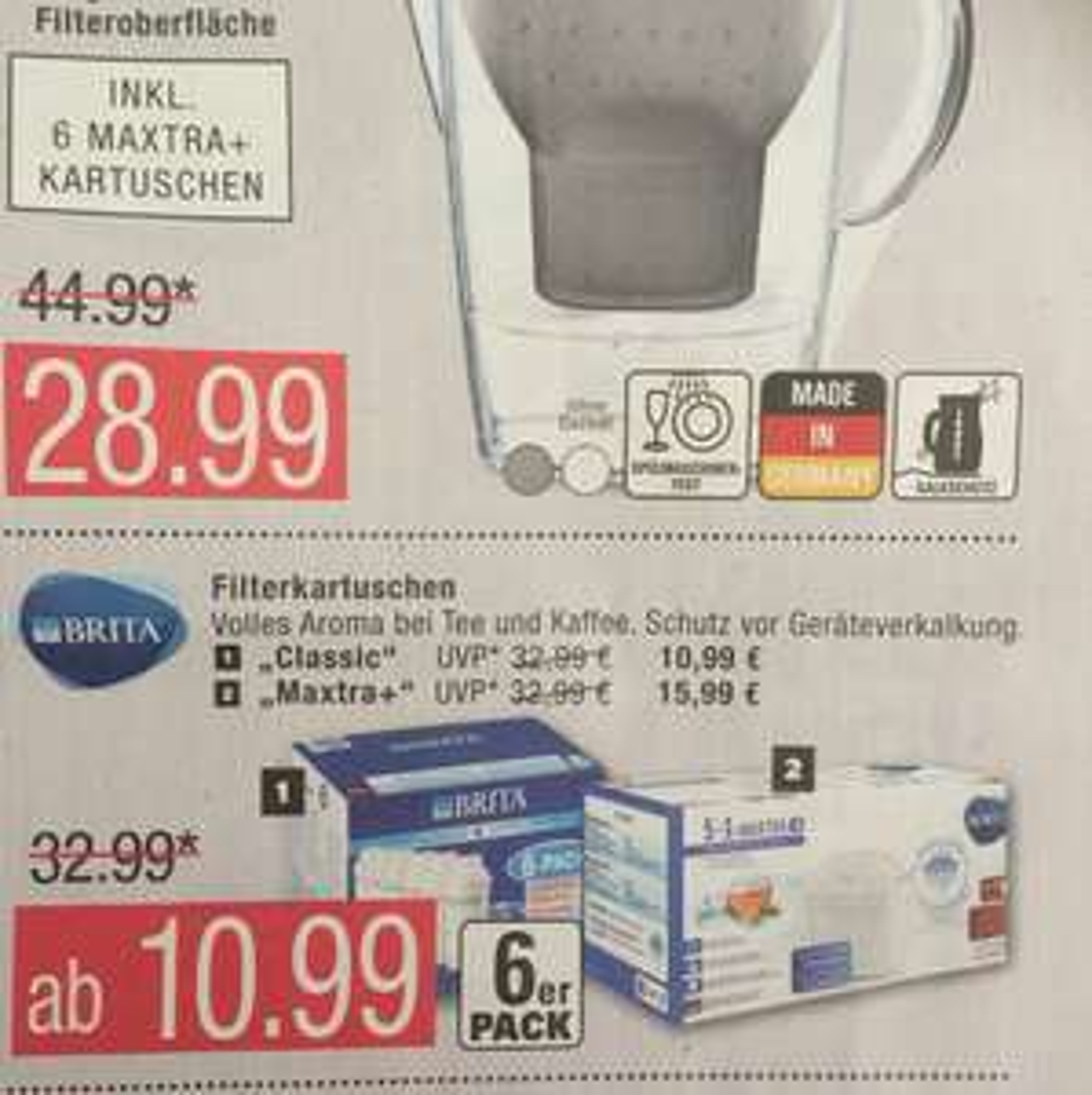 Brita 6er Pack Maxtra+ 15,99€/ Classic 10,99€ Marktkauf Hamburg