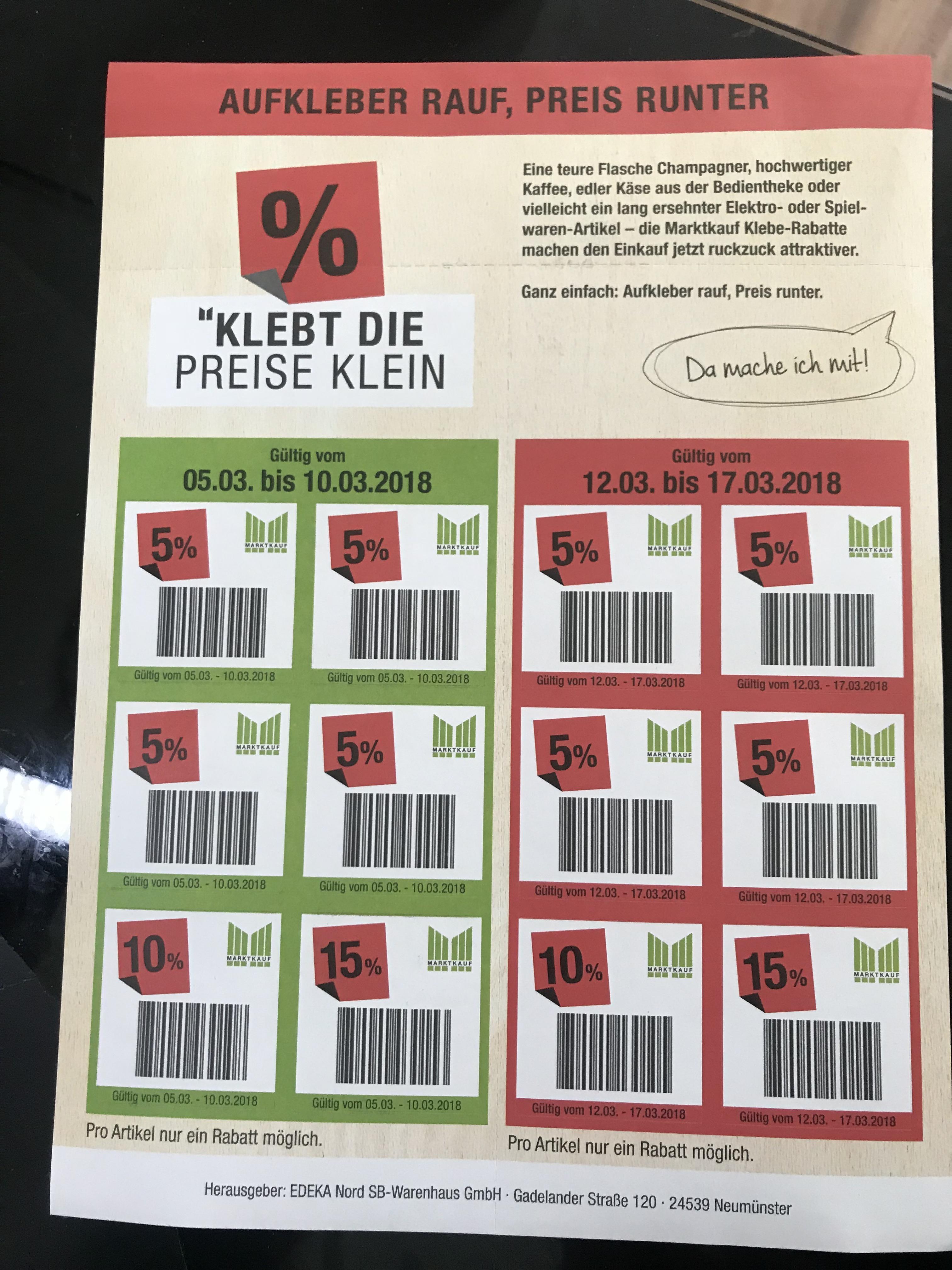 ( Marktkauf lokal ) 5 bis 15% Rabatt Aufkleber 12x in der Wochenbeilage ab 05.03.18 gültig