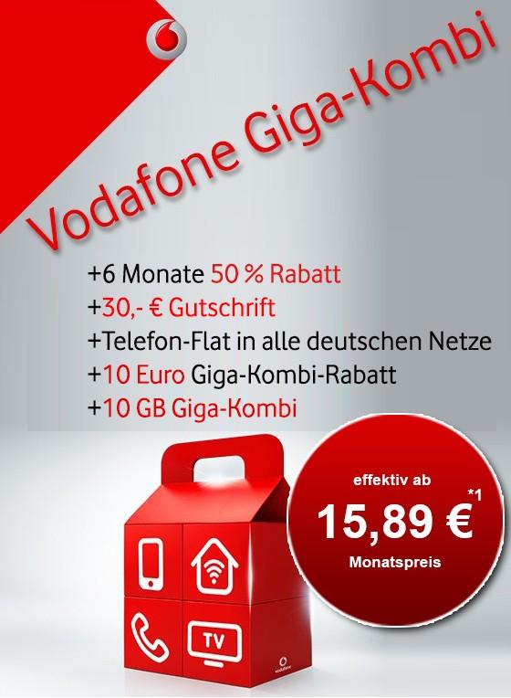 [GigaKombi] Vodafone Red M eff. 15,89€/mtl. | 14GB LTE, Vodafone Pass, Tel & Sms Flat, EU Roaming, Depot |