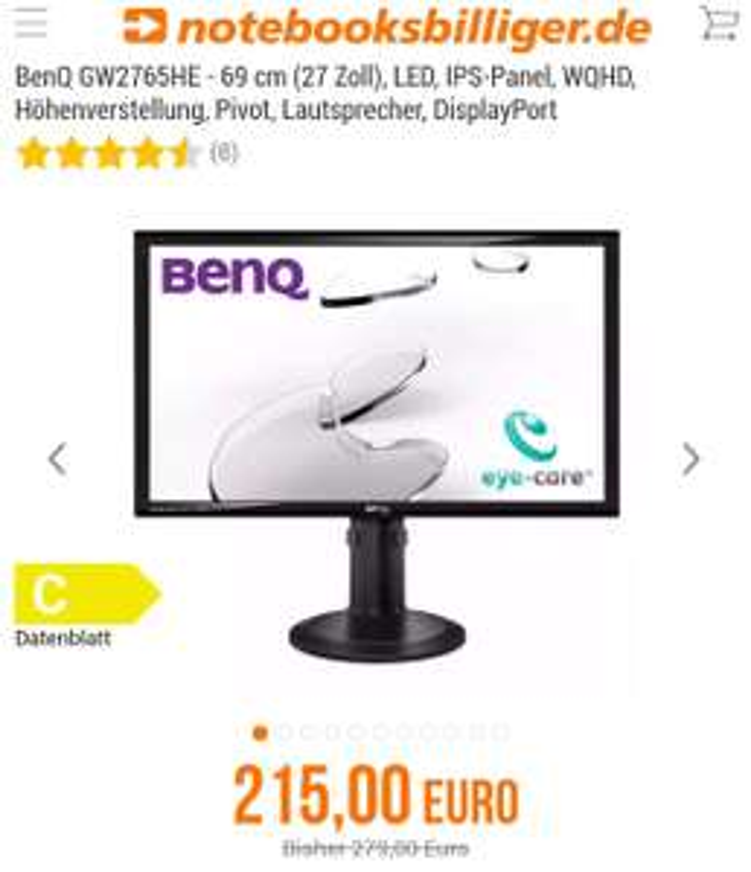"""BenQ GW2765HE 27"""" WQHD IPS Monitor bei NBB"""