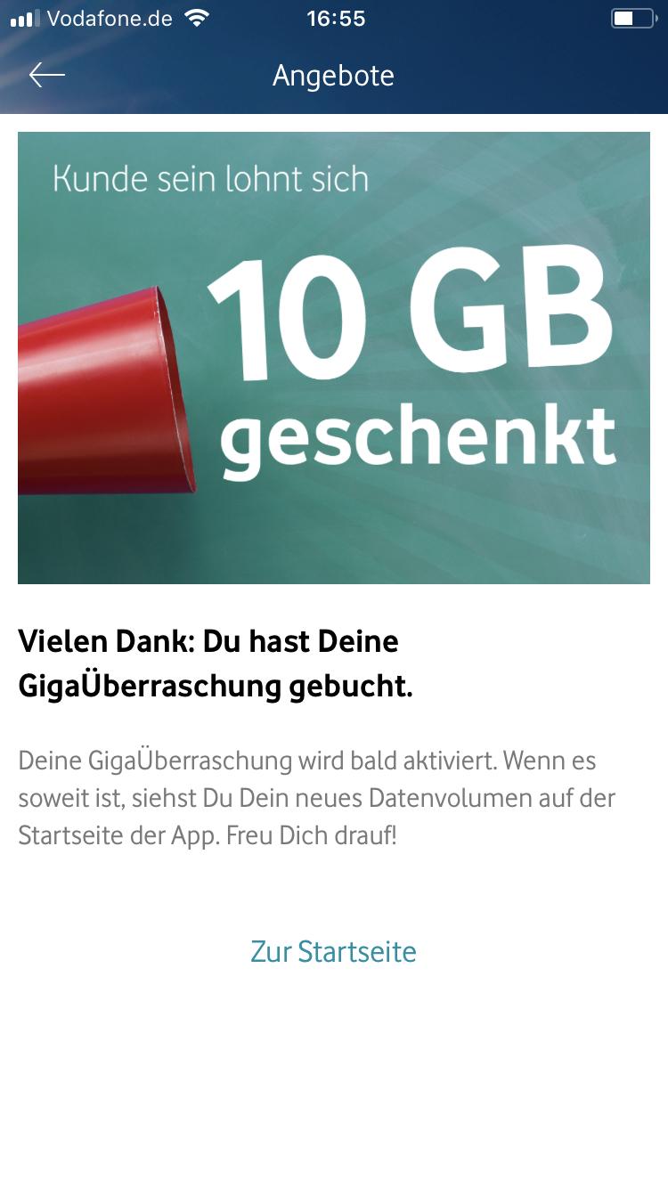 Vodafone Bestandskunden 10 GB geschenkt im Monat (1 Jahr lang) bei Aktivierung der GIGA ÜBERRASCHUNG in der Vodafone App (Giga Kombi nicht nötig)