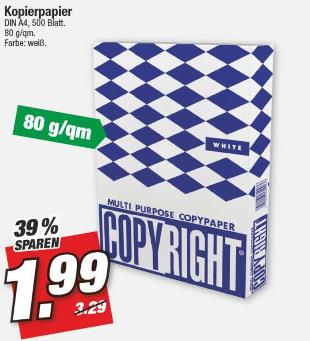 [Marktkauf Nordbayern/Sachsen/Thüringen am 08.03.] 500 Blatt Kopierpapier DIN A4 - Farbe: weiß, 80 g/m²