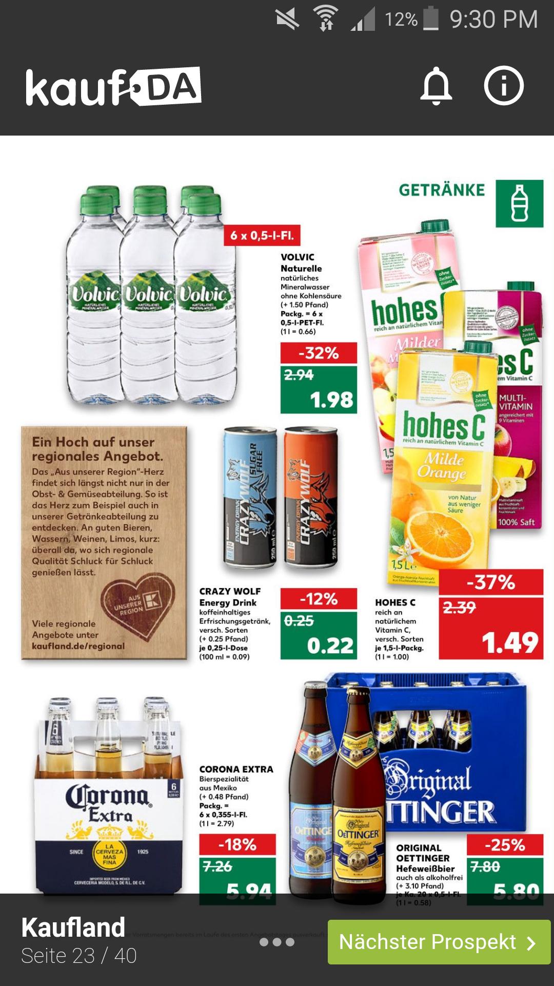 [Kaufland] Hohes C 1,5L für 1.49€ (verschiedene Sorten)