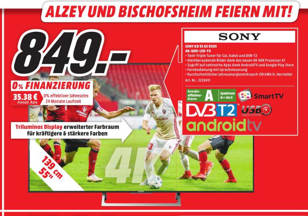 [Lokal MM Mainz, Alzey, Bischofsheim] Sony 55XE8505 4K UHD Fernseher für 850 Tacken