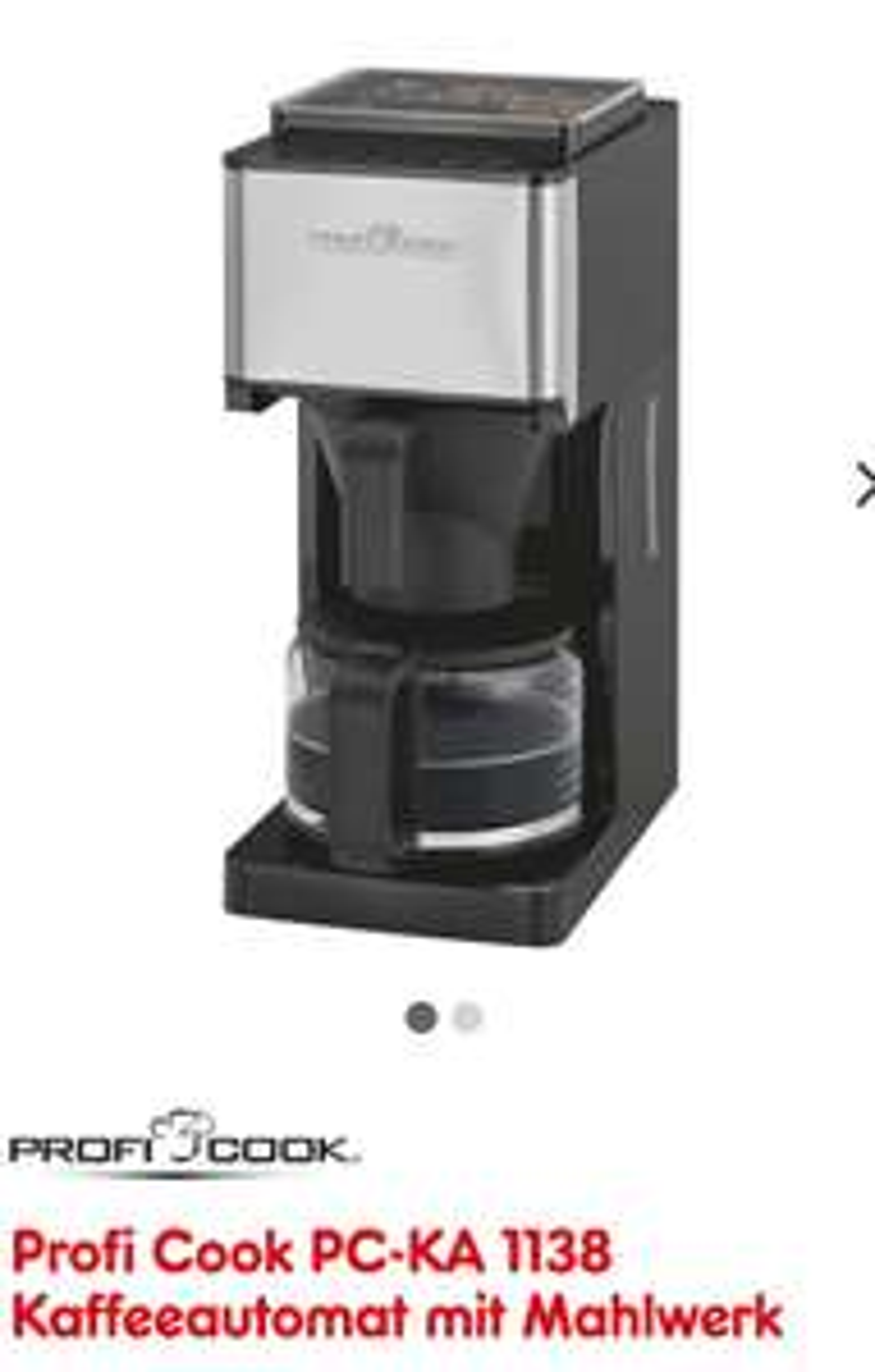 ProfiCook Kaffeemaschine mit Mahlwerk (-50%)
