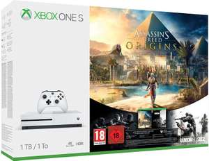 Microsoft Xbox One S 1TB + Assassin's Creed: Origins + Tom Clancy's Rainbow Six: Siege + FIFA 18 für 232,77€ (Microsoft)