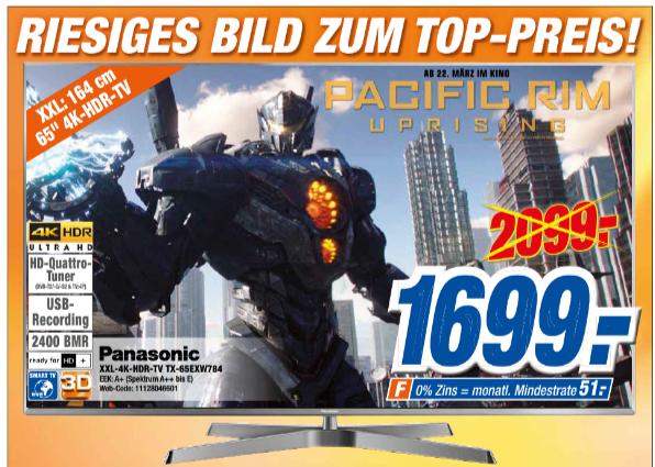 [expert] PANASONIC 4K 3D Ultra HD LED TV TX-65EXW784 für 1699€ bei Abholung und 1739€ mit Versand