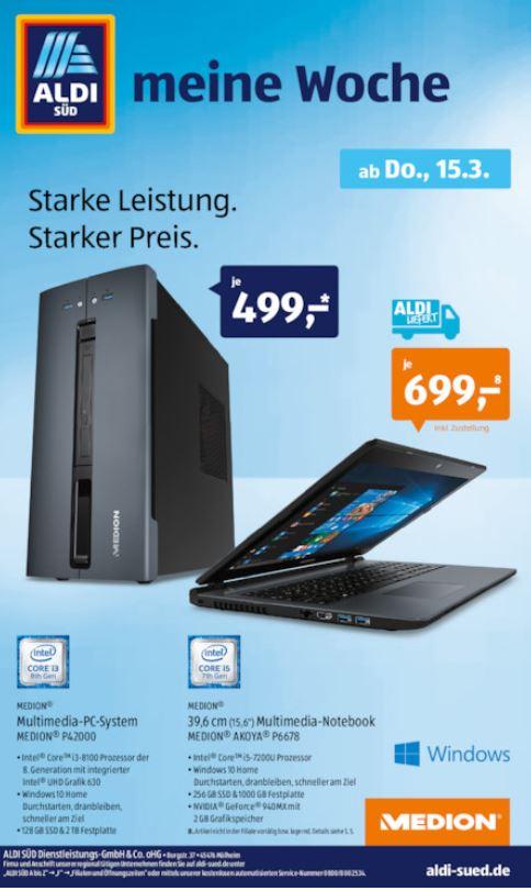 Aldi-PC: Medion Akoya P42000, 499€, ab 15.03. Süd und Nord
