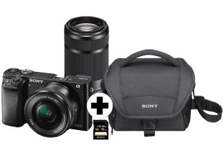 Sony Alpha 6000 + SEL-P1650 + SEL-5521 + Tasche + SD Karte