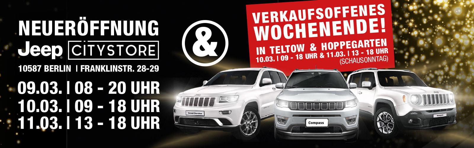 [lokal, Berlin, Teltow, Hoppegarten] Freebie: Am 9.+10.3.18 gibt es Burger und Bier umsonst bei Neueröffnung Jeep City Berlin und zwei Brandenburger Filialen