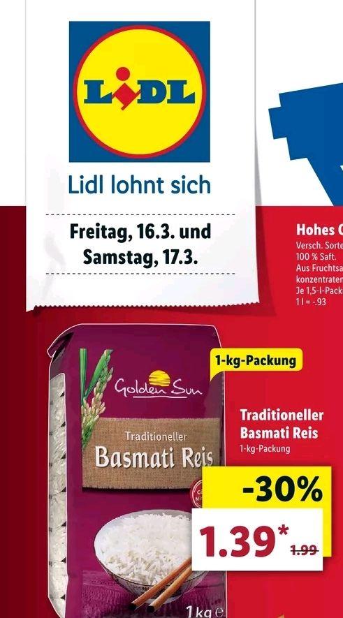 1 KG Golden Sun Basmati Reis für 1,39€ bei LIDL