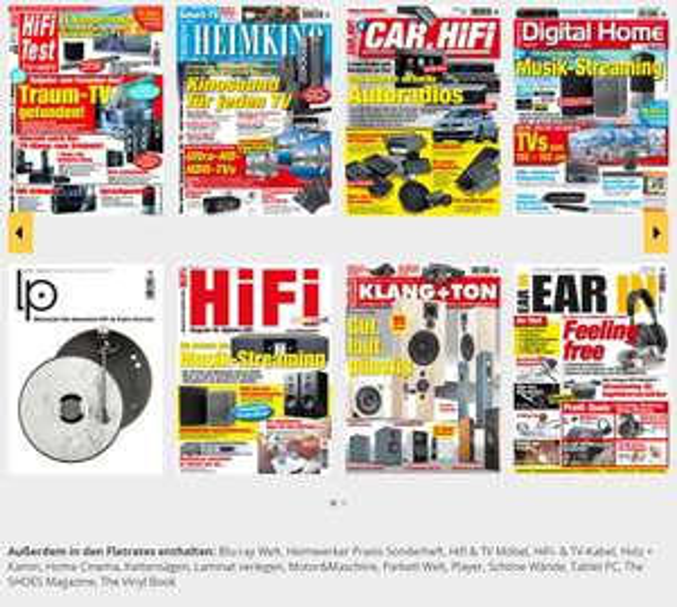 3 Monate Gratis. Rund 30 Zeitschriften plus deren Archive (z.B. Hifi Test, Heimkino, Heimwerker Praxis, Car & Hifi)