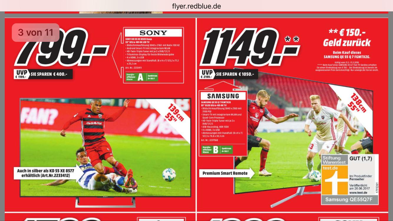 [Lokal Ulm Mediamarkt] Sony 55XE8505 für 800 tacken!