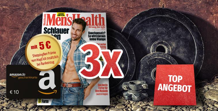 3 Ausgaben Men's Health für 10,90€ inkl.10€ amazon.de GS und 5€ ShoppingBon / 5 Ausgaben Womens Health für 14,00€ inkl. 10€ amazon.de und 5€ ShoppingBon (5,10€ effektiver Gewinn möglich)