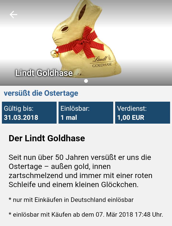 REAL REEBATE Lindt Goldhase 50g 1€ Cashback
