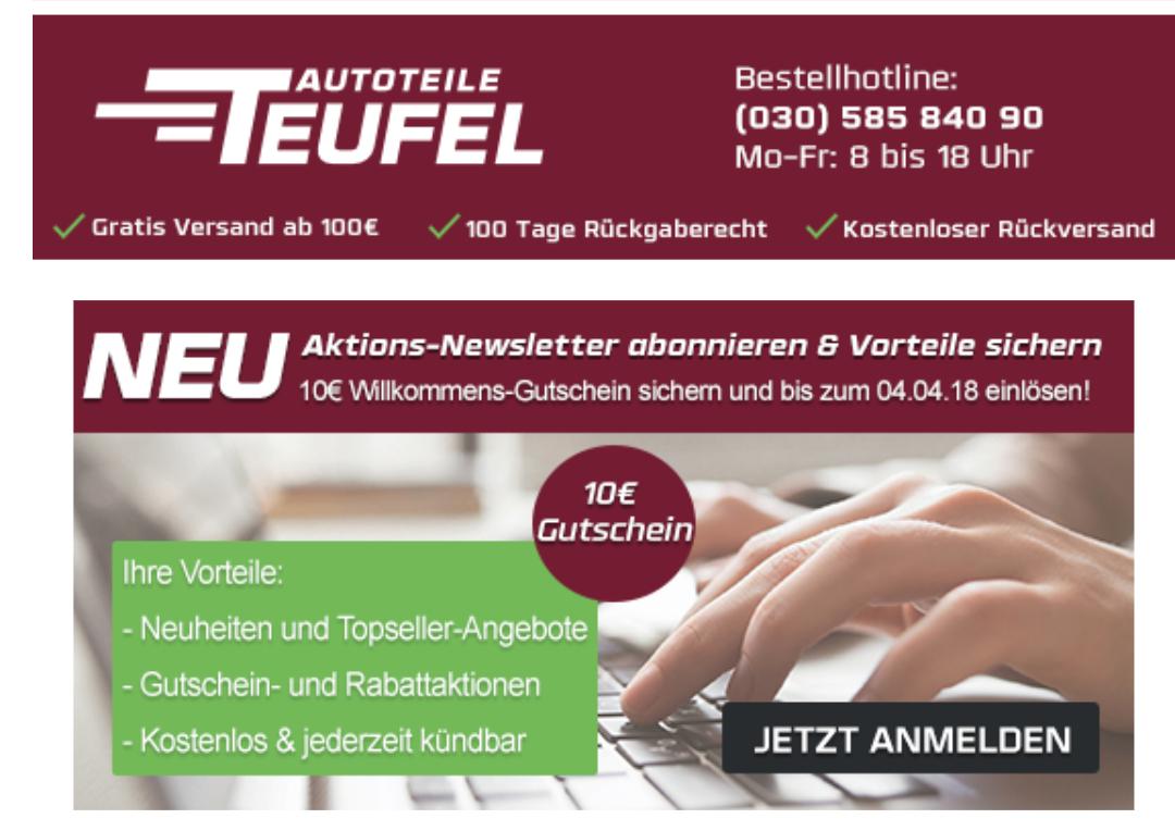 Autoteile Teufel - 10 Euro Gutschein bei 75 Euro MBW (Newsletteranmeldung)