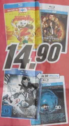 [MediaMarkt Karlsruhe/neu: jetzt auch bei: amazon.de] Blu-ray 3D je 14,90 EUR: Kung Fu Panda 2, Resident Evil - Afterlife, Die drei Musketiere, Sanctum