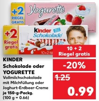 Schokodeal ! kinder Schokolade oder Yogurette - je 150g Packung (10 + 2 Riegel) für 0,99 € / Lindt Excellence ab 1,39 € @ Kaufland bundesweit ab 15.03.