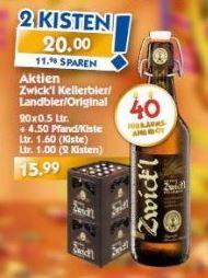 [Hol' Ab!] Aktien Zwick'l/Landbier/Original 2 Kisten für 20 Euro (zzgl. 9 Euro Pfand)