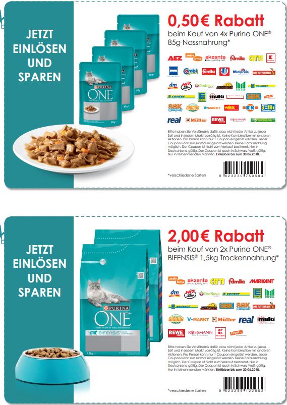 Purina Coupon zu ausdrucken 2,50 und 0,50 Euro