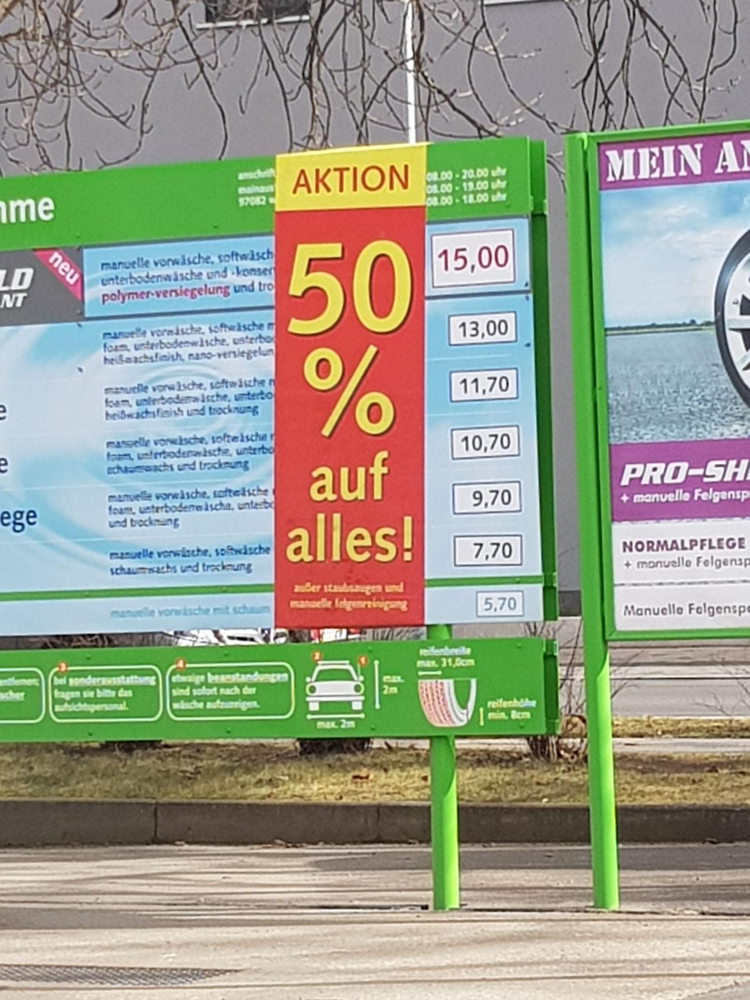 [Lokal Würzburg] IMO Waschanlage 50% auf alles