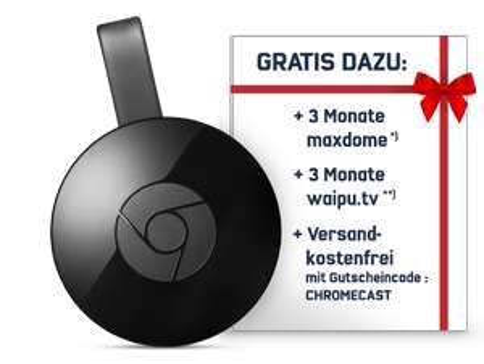 Google Chromecast inklusive 3 Monate waipu.tv und 3 Monate maxdome Abo für 34,99€ [mobilcom-debitel]