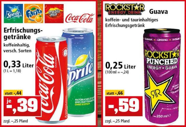 Coca Cola- / Fanta- / Sprite-Dosen 0,33l für 0,39€ [Thomas Philipps] ab 12.03.18