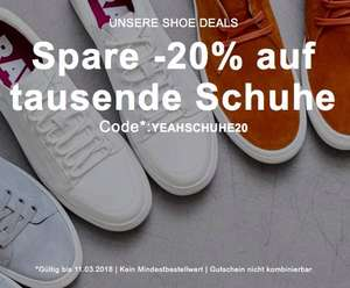 20% Rabatt auf Schuhe (ohne MBW) bei Zalando