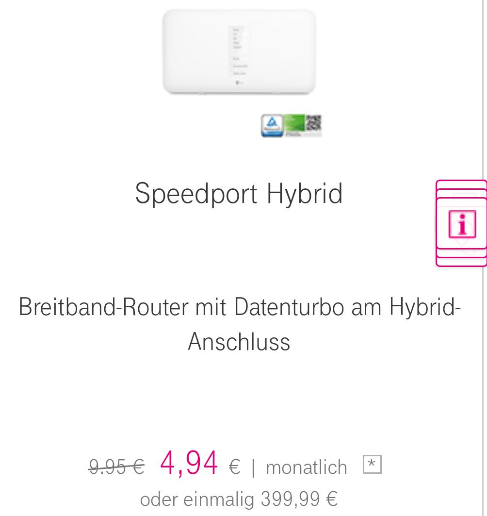 telekom speedport hybrid router f r mon 4 94 statt 9 95. Black Bedroom Furniture Sets. Home Design Ideas